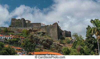 view of old castle Fortaleza de Sao Tiago timelapse in...