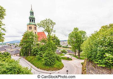 View of old catholic church in salzburg