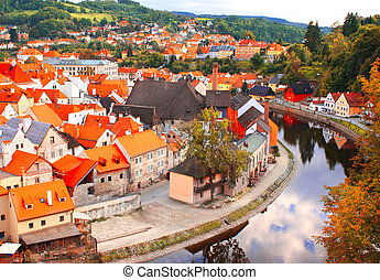View of old city Cesky Krumlov, Czech Republic - View of old...