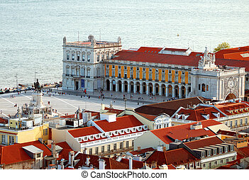 View of old city of Lisbon. Commerce Square.