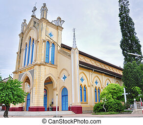 View of old colonial church in Mekong Delta