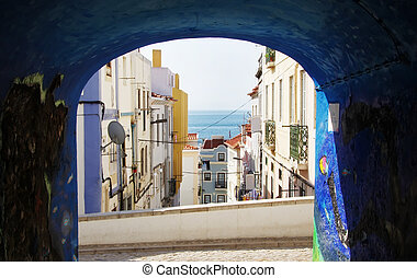 view of old facades at Sesimbra village, Portugal
