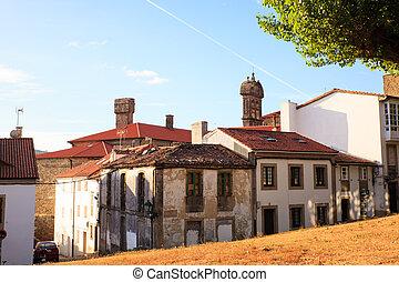 View of old houses of Santiago de Compostela