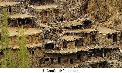 View of old Hundarman village ruins, Kargil - High-angle,...