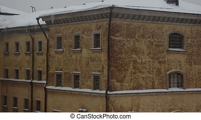 View of old prison building in winter
