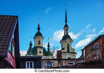 View of old residential areas of Parnu (Estonia) and roof of the Church of St. Catherine the Great Martyr (The Estonian Orthodox Church of Moscow Patriarchate).