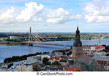 View of Old Riga, Latvia - The panoramic view of Riga (Old...