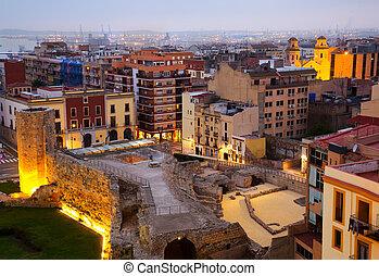 View of old Tarragona in twilight