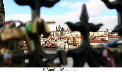 View of old town and Prague castle with Love locks