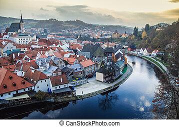 Cesky Krumlov - View of old town Cesky Krumlov. Czech ...