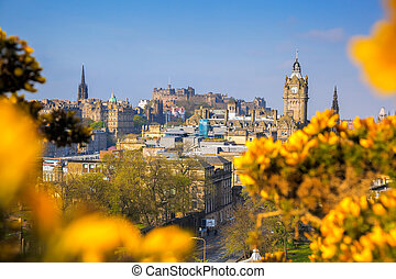 View of old town Edinburgh with flowers during spring in Scotland