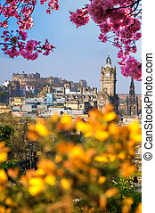 View of old town Edinburgh with spring trees in Scotland