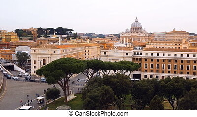 View of old town Rome and Basilica of St. Peter