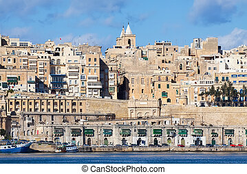 View of old Valletta from Grand Harbour. Malta