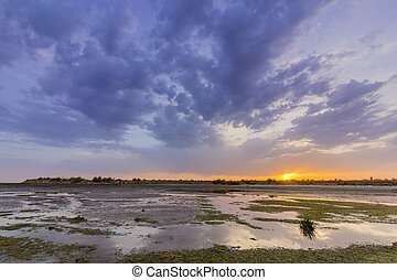 View of Olhao salt marsh Inlet waterfront to Ria Formosa...