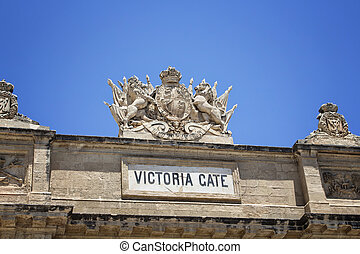 View of one of the gates in Valletta city in Malta.