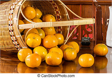 View of oranges in a bamboo basket.