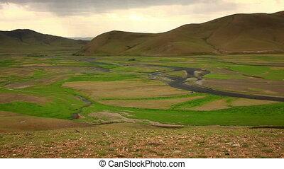View of Orkhon Valley, Karakorum, Mongolia. You see an empty...