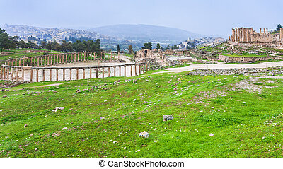 view of oval forum in Gerasa town and Jerash city