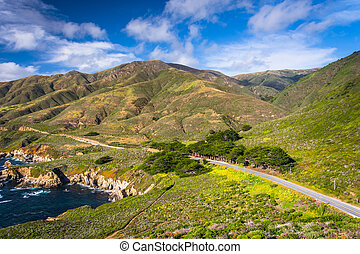 View of Pacific Coast Highway and mountains in Garrapata State Park, California.