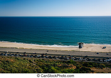 View of Pacific Coast Highway and the Pacific Ocean, in Pacific