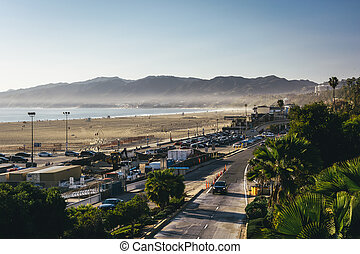 View of Pacific Coast Highway and the Santa Monica Mountains in
