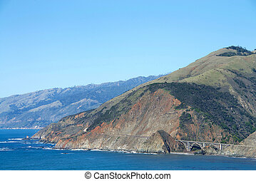 View of Pacific Coast Highway south of Big Sur with the Bixby Bridge