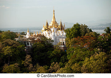 View of Pagoda from Sagaing hill,Sagaing Division,Myanmar.