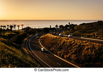 View of Palos Verdes Drive at sunset, in Rancho Palos Verdes, Ca