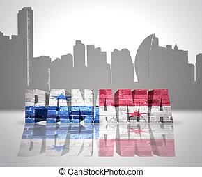 View of Panama - Word Panama with National Flag of Panama...