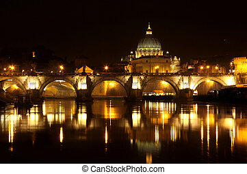 Vatican City in Rome, Italy - view of panorama night Vatican...