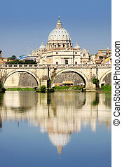 Vatican City from Ponte Umberto I in Rome, Italy - view of ...