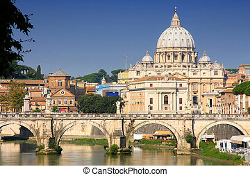 Vatican City from Ponte Umberto I in Rome, Italy - view of...