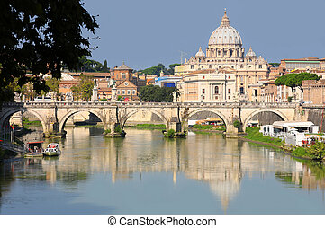 view of panorama Vatican City in Rome, Italy - view of...