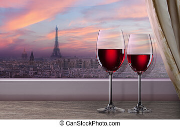 View of Paris and Eiffel tower on sunset from window with...