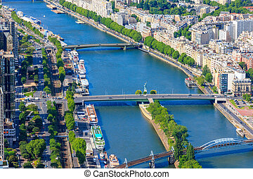 View of Paris, river Seine from Notre Dame cathedral