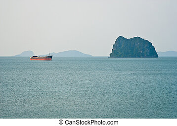 view of passenger ferry boat at Samui island