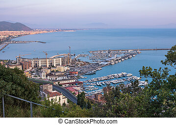 View of passenger port and marina in Salerno