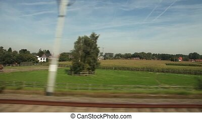 View of passing landscape. Belgium,