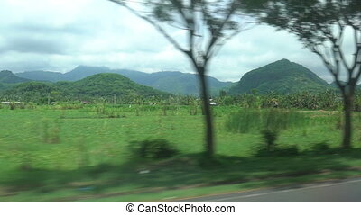 View of passing landscape from a car window, asian, bali indonesia