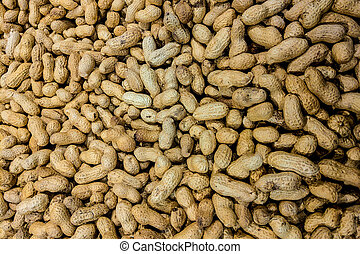 View of peanuts, food background, preparation for designers.