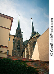 """View of """"Petrov"""" - the Cathedral of St. Peter and Paul in Brno, South Moravia, Czech Republic"""