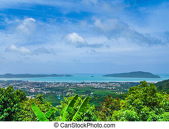 View of Phuket Town from nearby mountain