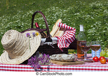 picnic in french alpine mountains