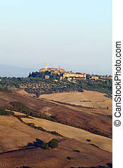 view of Pienza, just after sunrise. Tuscany, Italy
