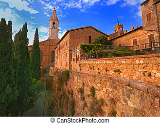 View of Pienza's church and old town hall towers.