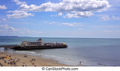 view of pier and beach in Bournemouth, dorset, engand