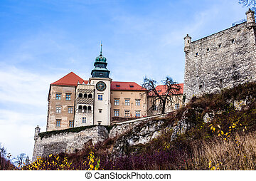 View of Pieskowa Skala Castle and garden, medieval building...