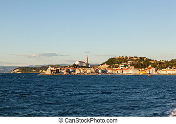 View of Piran little town in Slovenia from sea