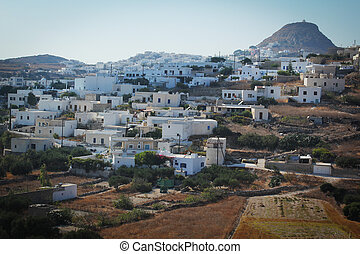 Plaka city - View of Plaka city, full of white houses in...